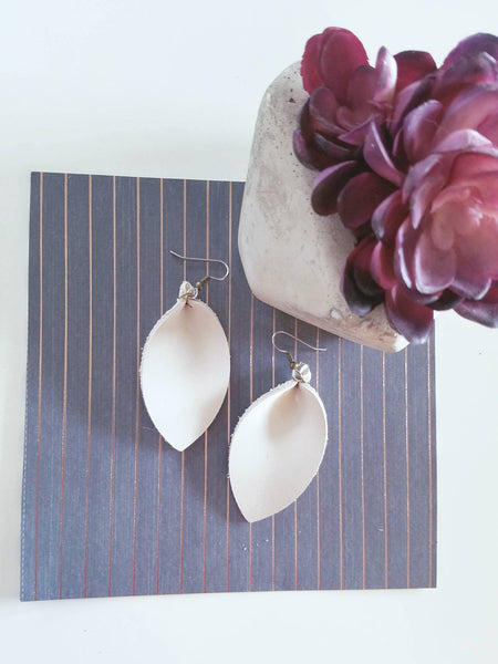 "Natural White / Leather Leaf Earrings / Medium / 2.5 x 1.25"" / Hypoallergenic / FREE SHIPPING"