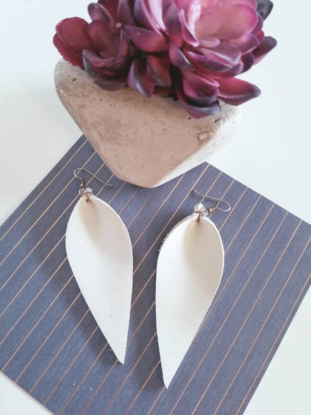 "Natural White / Leather Leaf Earrings / Large / 3.5 x 1.25"" / Hypoallergenic / FREE SHIPPING"