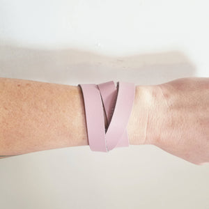 Blush / Leather Wrap Bracelet / Adjustable / Snap Closure / FREE SHIPPING