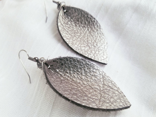 "Silver Metallic / Leather Leaf Earrings / Medium / 2.5 x 1.25"" / Hypoallergenic / FREE SHIPPING"