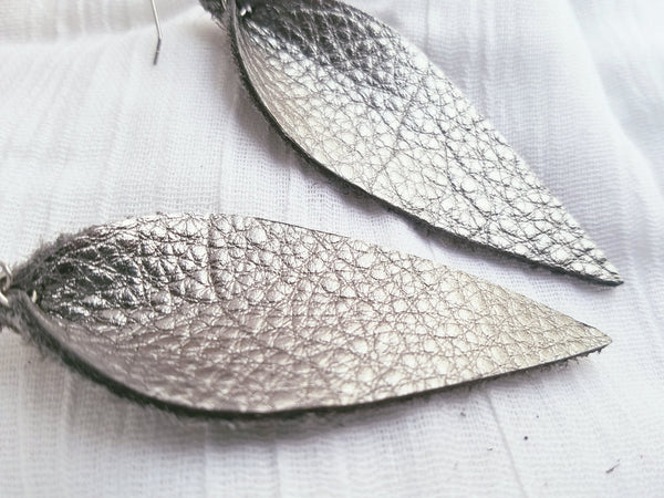"Silver Metallic / Leather Leaf Earrings / Large / 3.5 x 1.25"" / Hypoallergenic / FREE SHIPPING"