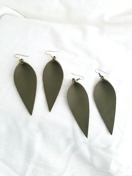 "Olive Green / Leather Leaf Earrings / Large / 3.5 x 1.25"" / Hypoallergenic / FREE SHIPPING"