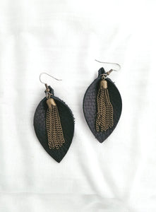 Black / Leather Earrings / Metallic Tassel / Leaf Style / Medium / FREE SHIPPING