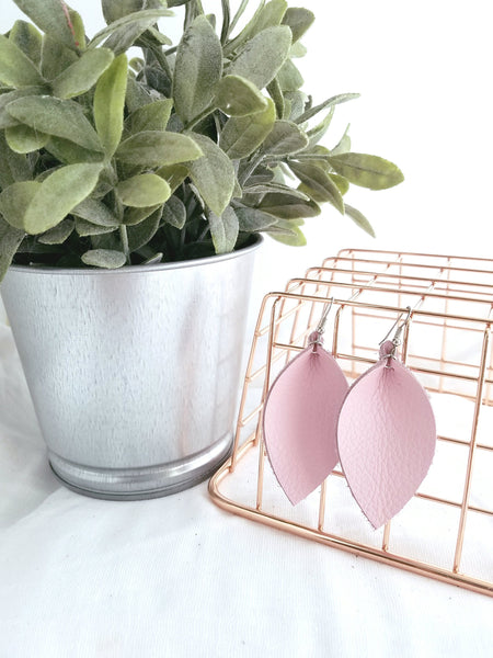 "Petal Pink / Leather Leaf Earrings / Medium / 2.5 x 1.25"" / Hypoallergenic / FREE SHIPPING"