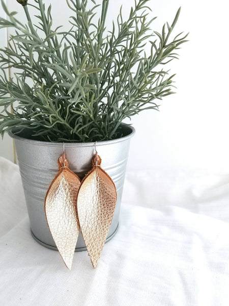 "Rose Gold Metallic / Leather Leaf Earrings / Large / 3.5 x 1.25"" / Hypoallergenic / FREE SHIPPING"