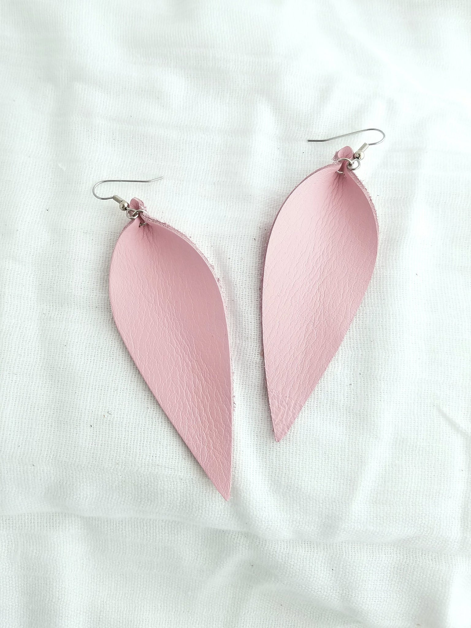 "Petal Pink / Leather Leaf Earrings / Large / 3.5 x 1.25"" / Hypoallergenic / FREE SHIPPING"