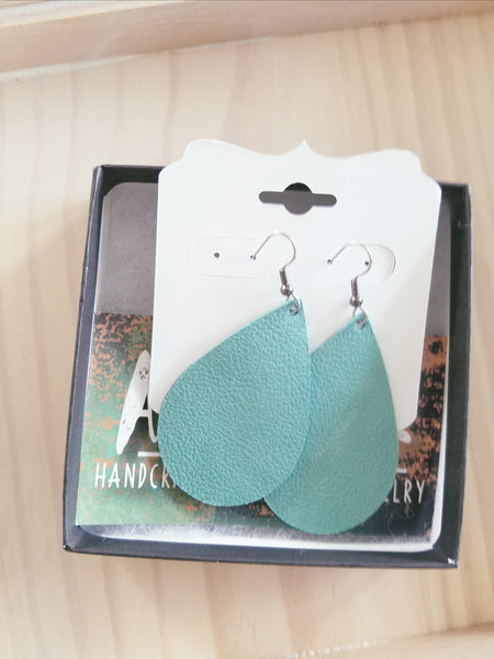 "Mint Green / Leather Teardrop Earrings / Medium / 2.25 x 1.5"" / Hypoallergenic / FREE SHIPPING"