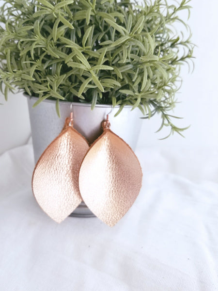 "Rose Gold Metallic / Leather Leaf Earrings / XL / 3.25 x 2.25"" / Hypoallergenic / FREE SHIPPING"