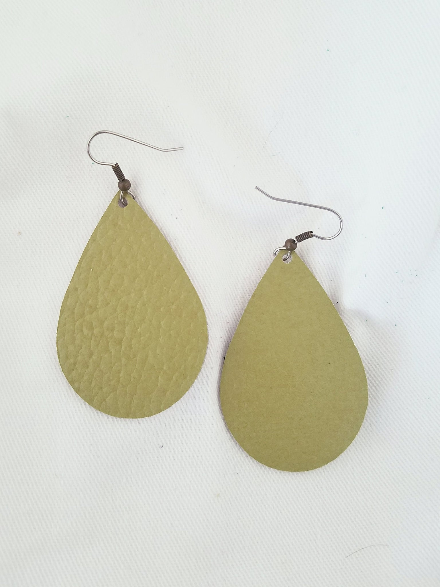 Green Tea Leather Earrings/ Leather Teardrop Earrings / Joanna Gaines Style