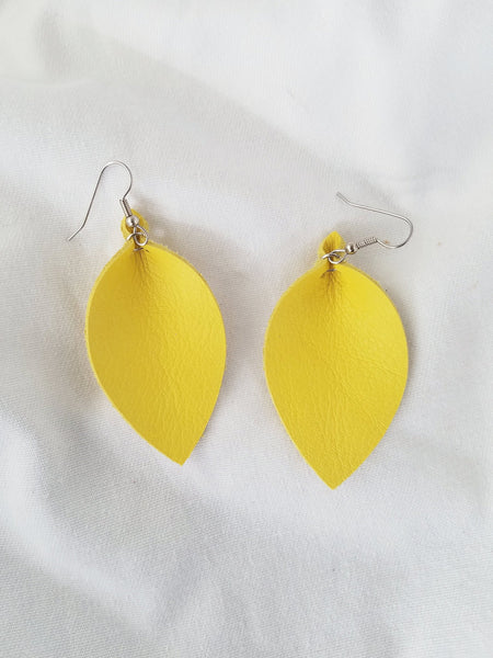"Daffodil / Leather Leaf Earrings / Medium / 2.5 x 1.25"" / FREE SHIPPING"