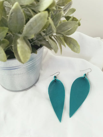 "Jaded Teal / Leather Leaf Earrings / Large / 3.5 x 1.25"" / FREE SHIPPING"