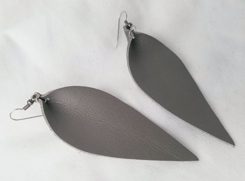 "Granite / Leather Leaf Earrings / Large / 3.5 x 1.25"" / FREE SHIPPING"