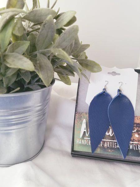"Cobalt Blue / Leather Leaf Earrings / Large / 3.5 x 1.25"" / FREE SHIPPING"