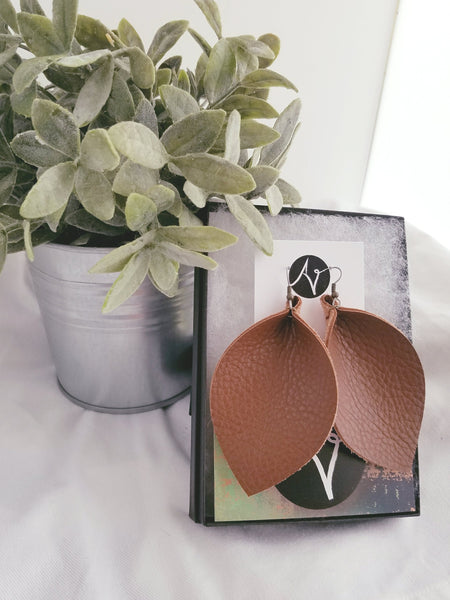 Brown / Leather Earrings / Leaf Style / XL / FREE SHIPPING