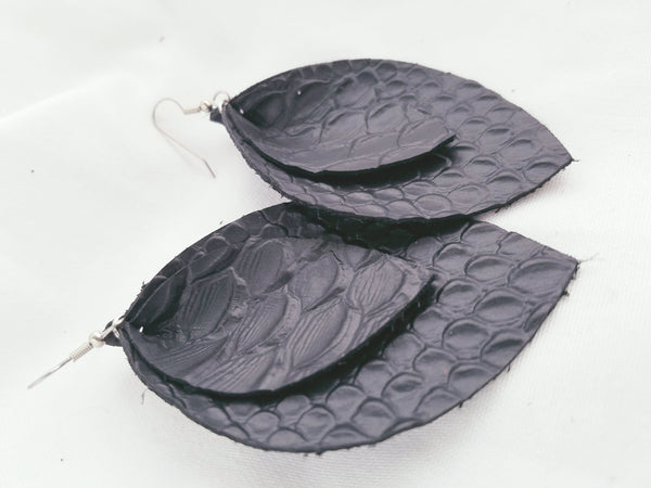 Black / Leather Earrings / Layered / Leaf Style / XL / FREE SHIPPING