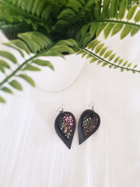 Mermaid Mirage / Layered Leather Petal Earrings / Shimmer Collection / Multiple Sizes