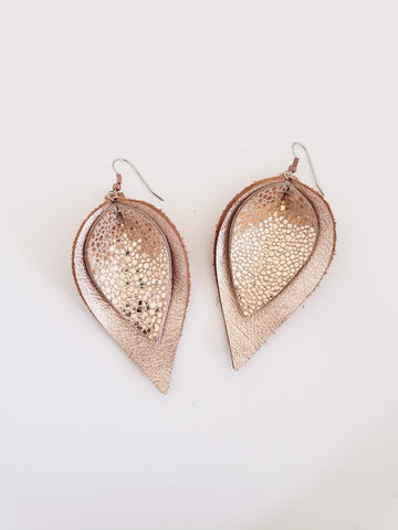 Shimmering Sands / Layered Leather Petal Earrings / Shimmer Collection / Multiple Sizes
