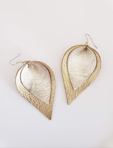 Precious Metals / Layered Leather Petal Earrings / Shimmer Collection / Multiple Sizes