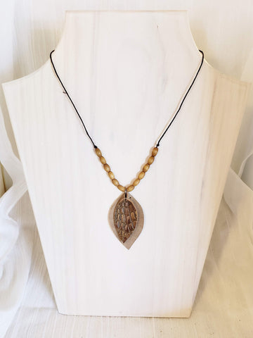 Leather & Wood Necklace / Suede / Mid-length / Leaf / FREE SHIPPING