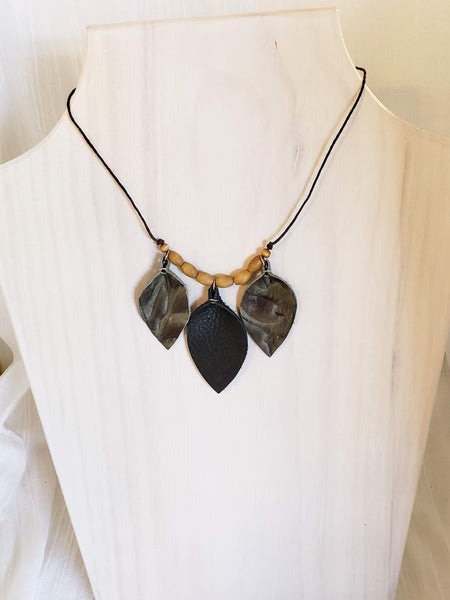 Leather Leaf Choker Necklace / Leather & Wood Necklace / FREE SHIPPING