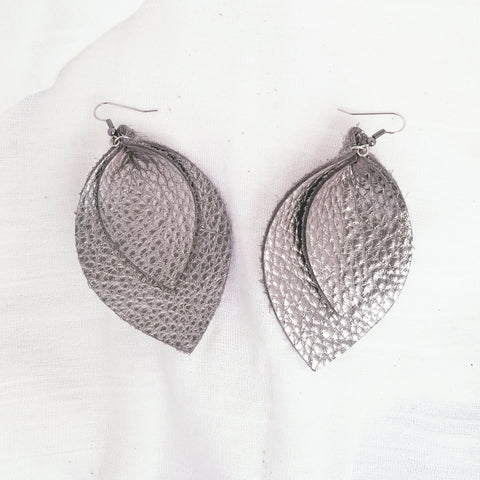 Silver Metallic / Leather Leaf Earrings / Layered / XL / 3.25 x 2.25""