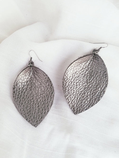 "Silver Metallic / Leather Leaf Earrings / XL / 3.25 x 2.25"" / Hypoallergenic / FREE SHIPPING"