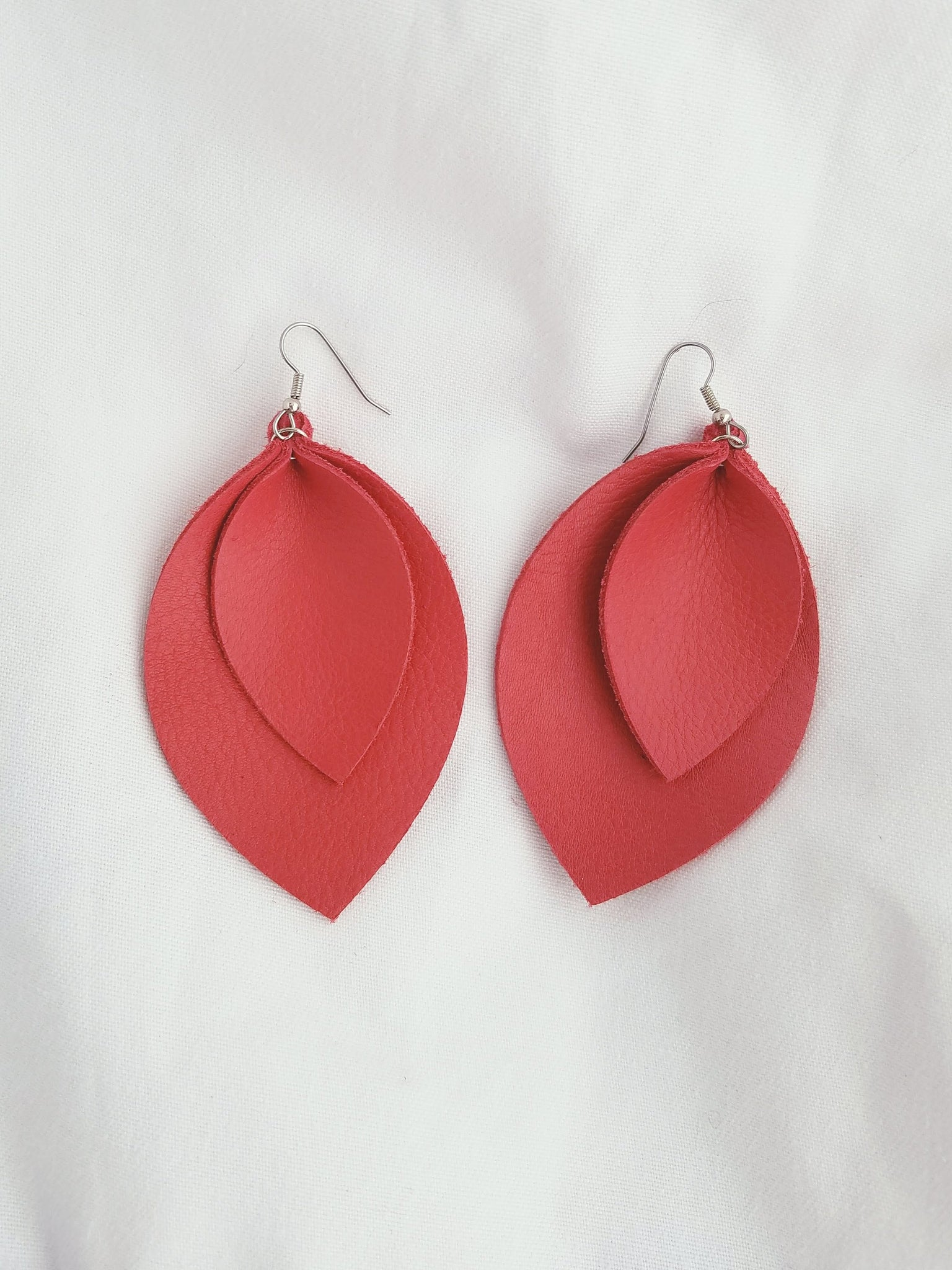 Cherry Tomato / Leather Earrings / Leaf Style / XL / FREE SHIPPING