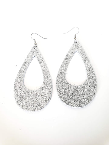 Silver Glitter / Leather Teardrop Earrings / Cutout / Large / 3.25 x 2""