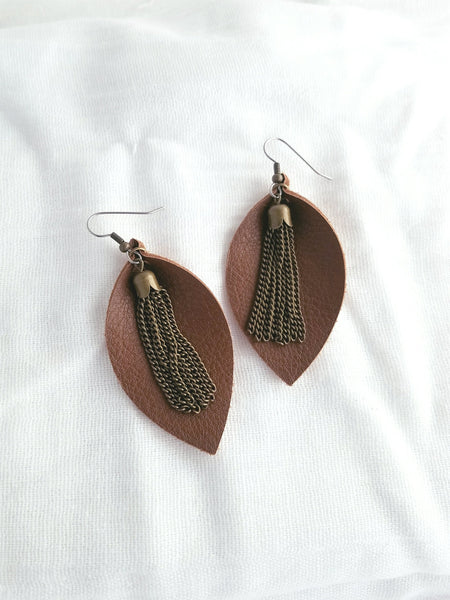 Brown / Leather Earrings / Metallic Tassel / Leaf Style / Medium / FREE SHIPPING