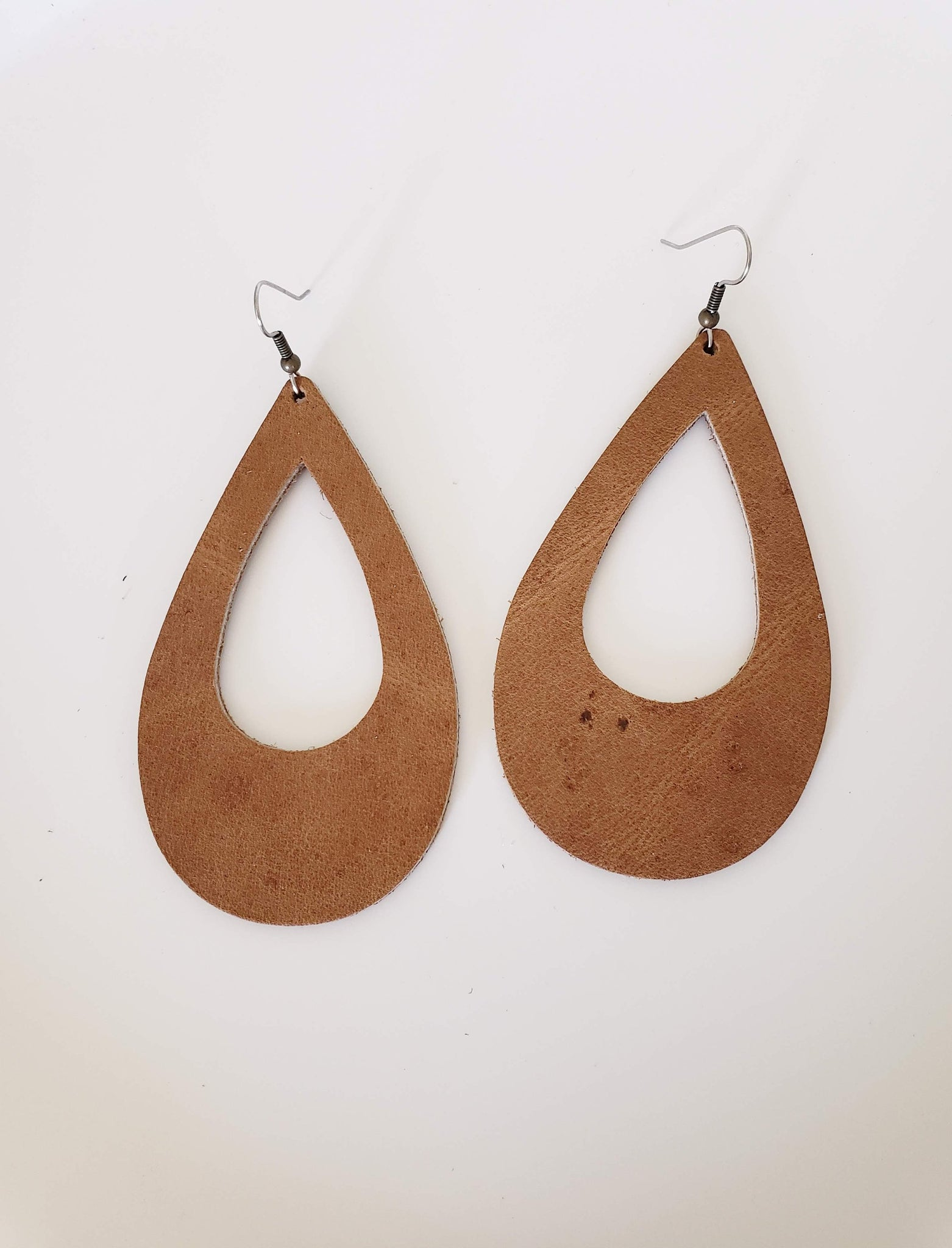 Rustic Brown / Leather Teardrop Earrings / Cutout / Large / 3.25 x 2""