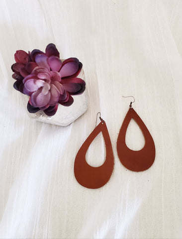 Brown / Leather Teardrop Earrings / Cutout Earrings / Large / 3.25 x 2""