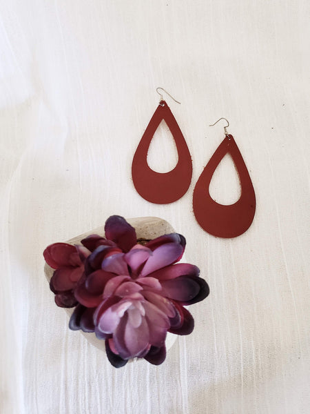 "Cinnamon / Leather Teardrop Earrings / Cutout / Large / 3.25 x 2"" / FREE SHIPPING"
