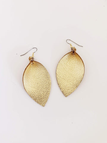 Gold Metallic / Leather Leaf Earrings / Joanna Gaines Zia / Boho / Medium