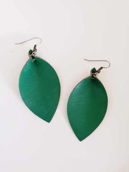 "Classic Green / Leather Leaf Earrings / Medium / 2.5 x 1.25"" / FREE SHIPPING"