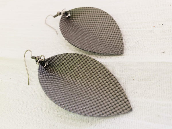 "Titanium / Leather Leaf Earrings / Medium / 2.5 x 1.25"" / Hypoallergenic / FREE SHIPPING"