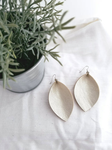"Cream Metallic / Leather Earrings / Leaf / XL / 3.25""x 2.25"""