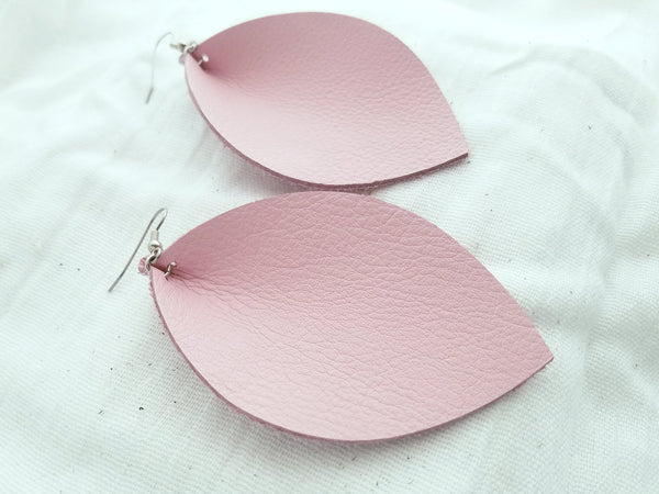 "Petal Pink / Leather Leaf Earrings / XL / 3.25 x 2.25"" / Hypoallergenic / FREE SHIPPING"