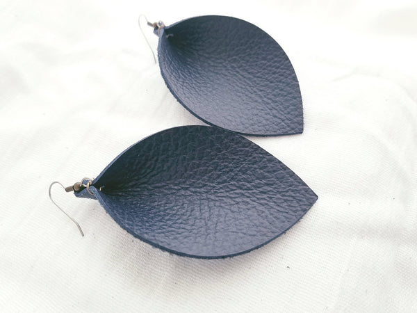 "Navy Blue / Leather Earrings / Leaf / X-Large / 3.25""x 2.25"""