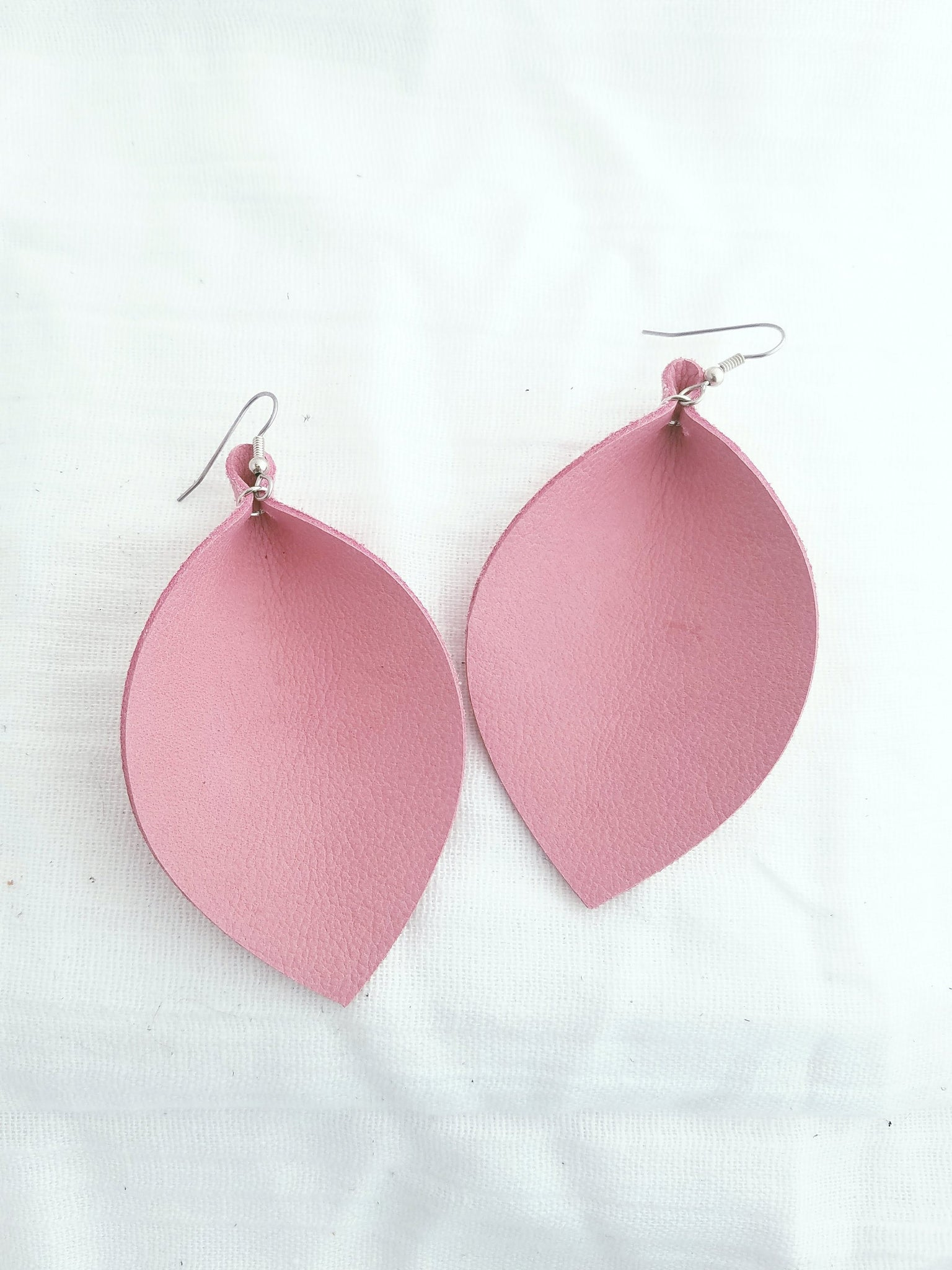 "Pink Flamingo / Leather Leaf Earrings / XL / 3.25 x 2.25"" / Hypoallergenic / FREE SHIPPING"