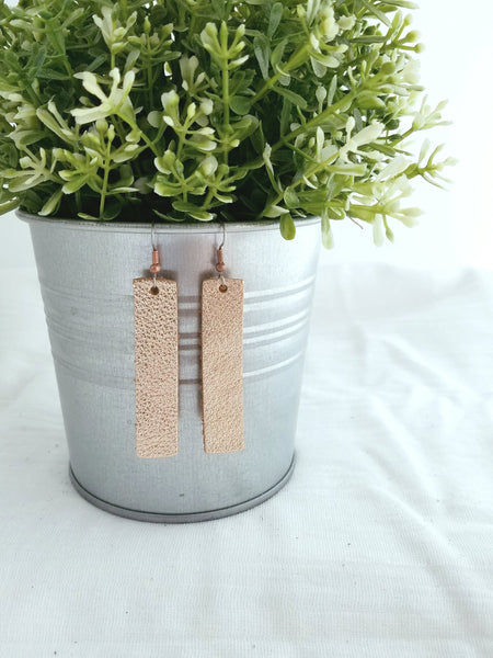 "Rose Gold Metallic / Leather Bar Earrings / Medium / 2.5 x .5"" / Hypoallergenic / FREE SHIPPING"