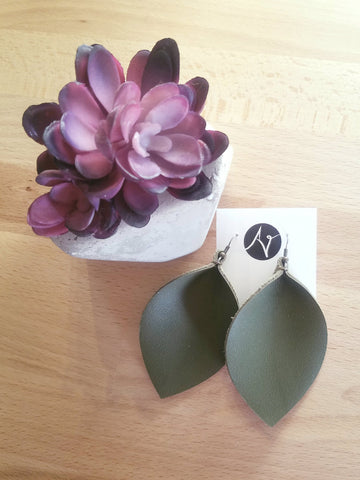 "Olive Green / Leather Leaf Earrings / XL / 3.25 x 2.25"" / Hypoallergenic / FREE SHIPPING"