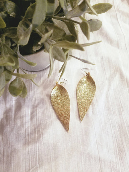 "Gold Metallic / Leather Leaf Earrings / Large / 3.5 x 1.25"" / FREE SHIPPING"