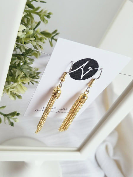 "Metallic Tassel Earrings / Medium / 2.5 x .25"" / Hypoallergenic / FREE SHIPPING"