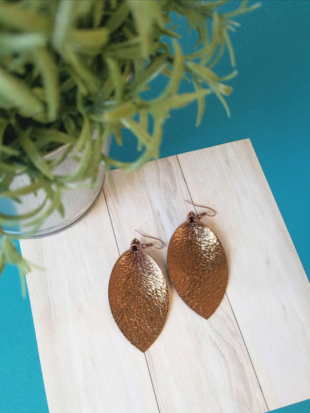 "Metallic Bronze / Leather Leaf Earrings / Medium / 2.5 x 1.25"" / Hypoallergenic / FREE SHIPPING"