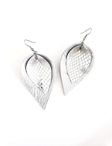 Diamond Oasis / Layered Leather Petal Earrings / Shimmer Collection / Multiple Sizes