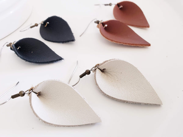"Leather Earrings / Multi-Pack / Leaf / Small / 1.75 x 1"" / Black, White, Brown / FREE SHIPPING"