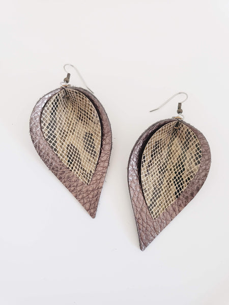 Desert Snake / Layered Leather Petal Earrings / Shimmer Collection / Multiple Sizes /Hypoallergenic