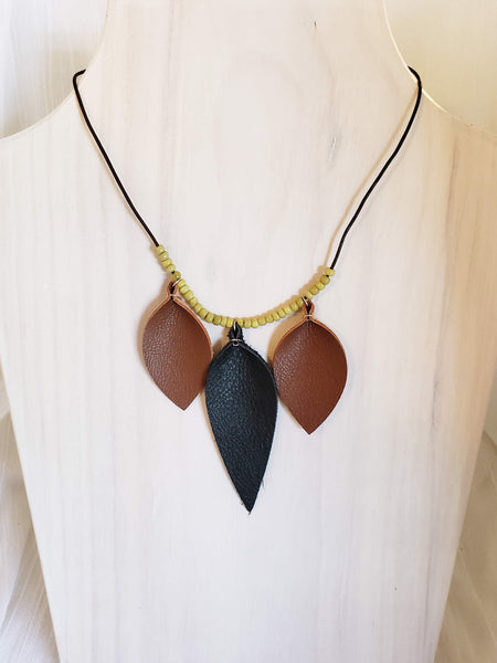 Leather & Wood Necklace / Leaf / FREE SHIPPING