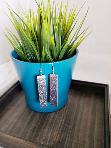 "Gunmetal Glitter / eather Bar Earrings / Medium / 2.5 X .5"" / FREE SHIPPING"