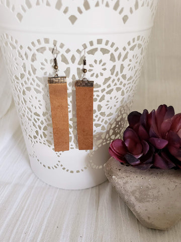 "Rustic Brown / Leather Bar Earrings / Medium / 2.5 x .5"" / Hypoallergenic / FREE SHIPPING"